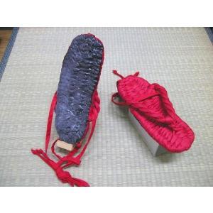 ひも付 布ぞうり くの一 赤総柄 裏ゴム付 (KJ−19) Mサイズ(24cm) |warajigumi-store
