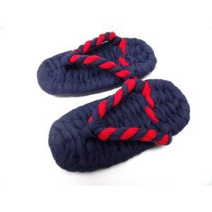 子供カープカラー布ぞうり 紺無地に赤紺のはなお(KJ-38-KODOMO) (16cm,18cm,20cm)|warajigumi-store