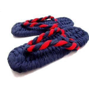 カープカラー布ぞうり 紺地に紺と赤の鼻緒の布ぞうり(KJ-38) Lサイズ(26cm)|warajigumi-store
