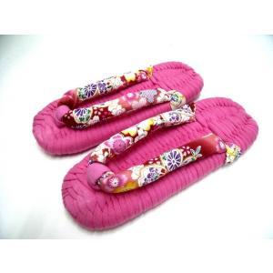 ピンクニット台にピンク和調柄のげた鼻緒(NIT-G-22) Mサイズ(実寸23.5cm幅9cm)|warajigumi-store