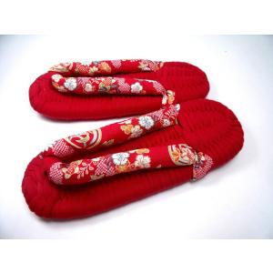 布ぞうり 赤ニット台に赤和調柄のげた鼻緒(KNIT-G-33) Mサイズ(実寸全長24.5cm幅9.0cm)|warajigumi-store