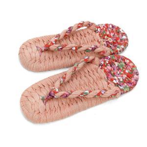ピンクしじら織り生地と赤花柄のコンビの布ぞうりです。 サイズはMサイズとSサイズがあります。