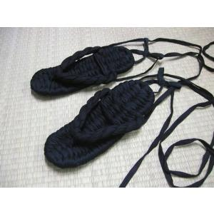 ひも付 布ぞうり NINJA 黒総柄(W−20) LLサイズ(28cm)|warajigumi-store