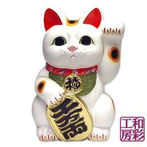 【開運招福縁起】常滑焼 小判招き猫10号「白/左手招き」|wasai-kobo