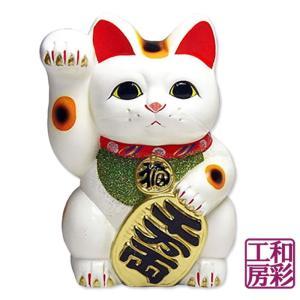 【開運招福縁起】常滑焼 小判招き猫10号「白/右手招き」|wasai-kobo