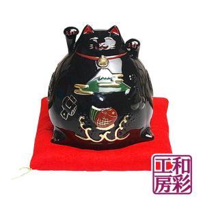 陶磁器製 珍しい両手招き猫「黒ねこ」|wasai-kobo