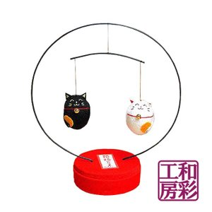 丸台モビール「ちりめん 開運招き猫/豆猫白黒」|wasai-kobo