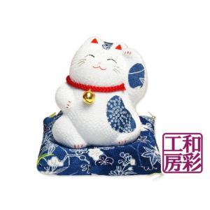 ちりめん細工「 藍/鈴付 招き猫」|wasai-kobo