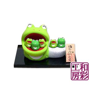 素焼陶製「福を六(む)かえる」蛙 リュウコドウ 和雑貨 置物|wasai-kobo