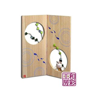 ちりめん細工の桐屏風「水面(みなも)に猫」 リュウコドウ 和雑貨 置物|wasai-kobo