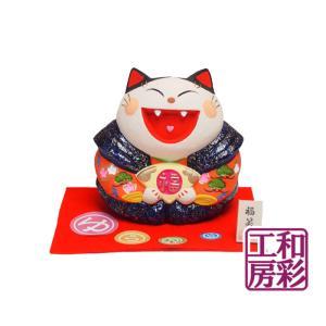 迎春・正月飾り「陶製 ゆらゆら福笑い お奉行ねこ」置物|wasai-kobo