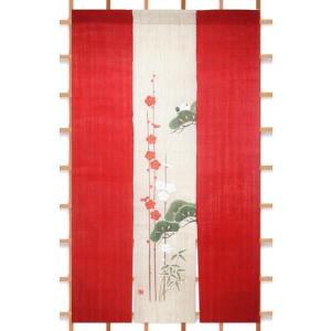 【京都 洛柿庵】高級本麻三連のれん「松竹梅に鶴」暖簾の写真