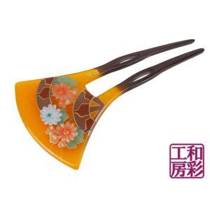 手描き蒔絵かんざし「源氏車菊/卵甲」簪 髪飾り/vc120|wasai-kobo