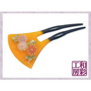 手描き蒔絵かんざし「三色菊/卵甲」簪 髪飾り/vc129d|wasai-kobo