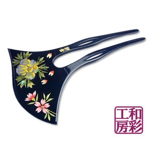 高級 手描き蒔絵かんざし「螺鈿入 桜牡丹/黒」簪 髪飾り/vc135b|wasai-kobo