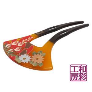 手描き蒔絵かんざし「花車菊/卵甲」簪 髪飾り/vc166e|wasai-kobo