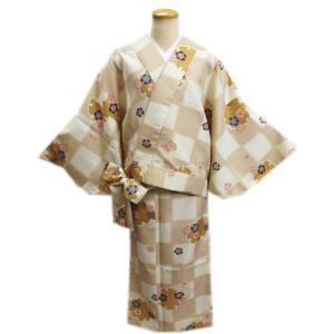 二部式 着物 袷 女性用 洗える ユニフォーム 薄茶きなり市松地雪輪桜 M L|wasakura-an