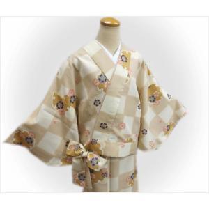 二部式 着物 袷 女性用 洗える ユニフォーム 薄茶きなり市松地雪輪桜 M L|wasakura-an|02