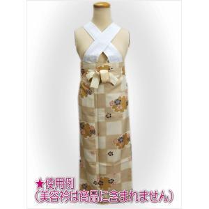 二部式 着物 袷 女性用 洗える ユニフォーム 薄茶きなり市松地雪輪桜 M L|wasakura-an|05