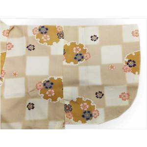 二部式 着物 袷 女性用 洗える ユニフォーム 薄茶きなり市松地雪輪桜 M L|wasakura-an|07