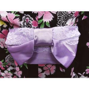 キッズ 子供用 結び帯 付け帯 ワンタッチ レース 浴衣 薄紫色|wasakura-an