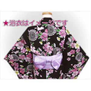 キッズ 子供用 結び帯 付け帯 ワンタッチ レース 浴衣 薄紫色|wasakura-an|03