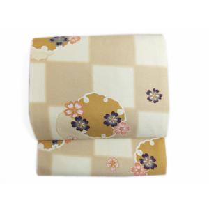 軽装帯 作り帯 付け帯 着物 簡単 お太鼓結び 薄茶きなり市松地雪輪桜|wasakura-an