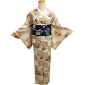 着物 袷 洗える 軽装帯 付け帯 セット 薄茶きなり市松地 雪輪桜 M L|wasakura-an