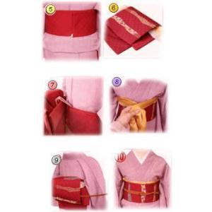 着物 袷 洗える 軽装帯 付け帯 セット 薄茶きなり市松地 雪輪桜 M L|wasakura-an|06