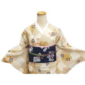 着物 袷 洗える 軽装帯 付け帯 セット LL トールサイズ 薄茶きなり市松地 雪輪桜|wasakura-an|02