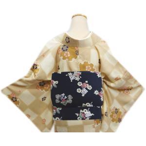 着物 袷 洗える 軽装帯 付け帯 セット LL トールサイズ 薄茶きなり市松地 雪輪桜|wasakura-an|03