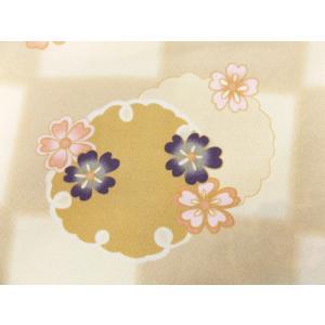 着物 袷 洗える 軽装帯 付け帯 セット LL トールサイズ 薄茶きなり市松地 雪輪桜|wasakura-an|04