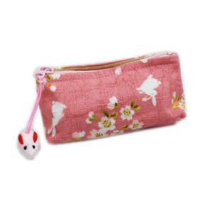ミニ ポーチ 小物 小銭 入れ 和柄 桜うさぎ ピンク