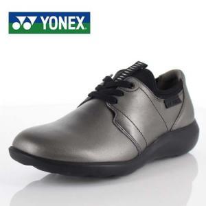 YONEX ヨネックス 靴 LC99 パワークッション ウォーキング シューズ 3.5E 3E 幅広 本革 牛革 シルバー グレー レディース washington