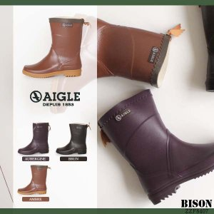 AIGLE エーグル ビソン レディース レインブーツ 長靴 ショート丈 8407 BISON レザーウィング ラバーブーツ 正規品|washington
