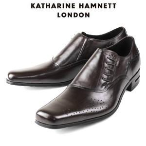 KATHARINE HAMNETT LONDON キャサリンハムネット 31424 DBR メンズ 本革 ドレスシューズ ビジネス サイドレース washington