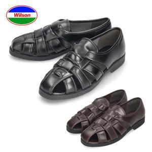 メンズ カメサンダル ドライビングシューズ オフィスサンダル Wilson ウィルソン 3600 ブラック 通気性 クールビズ|washington