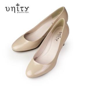 UNITY 靴 ユニティ パンプス 7475 ラウンドトゥ ベーシック エナメル フォーマル ピンクベージュエナメル|washington