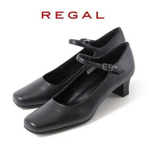 リーガル レディース 黒 パンプス ストラップ 靴 REGAL 6769 本革 リクルート 就活 就...