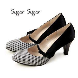 Sugar Sugar シュガーシュガー 7405 千鳥柄 リボンベルト付き 切り替え パンプス パーティ フォーマル セール washington