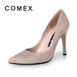 COMEX コメックス パンプス 靴 5500 (ベージュS) スエード ポインテッドトゥ ハイヒール 本革 ピンヒール|washington