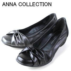 ANNA COLLECTION 527 レディース カジュアルパンプス リボン パンプス コンフォート ブラック スチールグレー washington