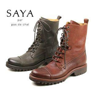 SAYA ブーツ ショート 靴 5828 サヤ レースアップブーツ ラボキゴシ|washington