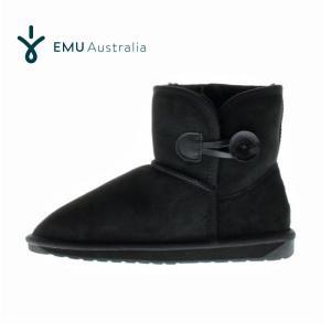 EMU Australia エミュー ステラ ミニ Stella Mini W10838 ムートンブーツ 撥水加工 レディース サイドボタン ブラック Black/Noir セール|washington
