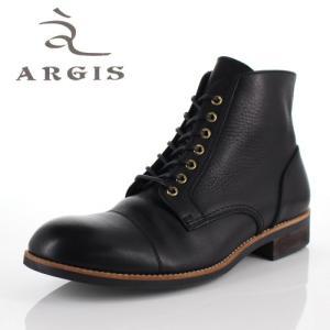 アルジス 靴 レザーブーツ メンズ 本革 ストレートチップ レースアップ ブラック 72239 タンクソール ショートブーツ 革靴 日本製|washington