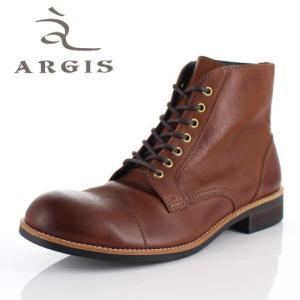 アルジス 靴 レザーブーツ メンズ 本革 ストレートチップ レースアップ ブラウン 72239 タンクソール ショートブーツ 革靴 日本製|washington