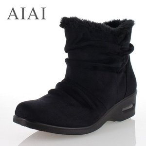 AIAI アイアイ 靴 9585 ボア ショートブーツ 4E 防水 防滑 ブラック レディース|washington