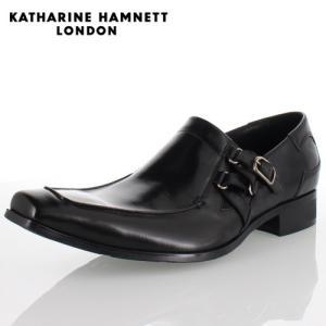 KATHARINE HAMNETT LONDON キャサリンハムネット 3970 BLACK メンズ 本革 ドレスシューズ ビジネス スリッポンサイドストラップ washington