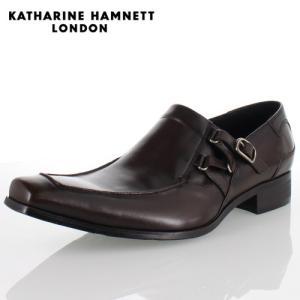 KATHARINE HAMNETT LONDON キャサリンハムネット 3970 DARKBROWN メンズ 本革 ドレスシューズ ビジネス スリッポンサイドストラップ washington