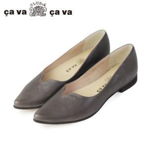 cavacava サヴァサヴァ 靴 1601511 センタースリット ポインテッドトゥ フラット シューズ パンプス グレー|washington